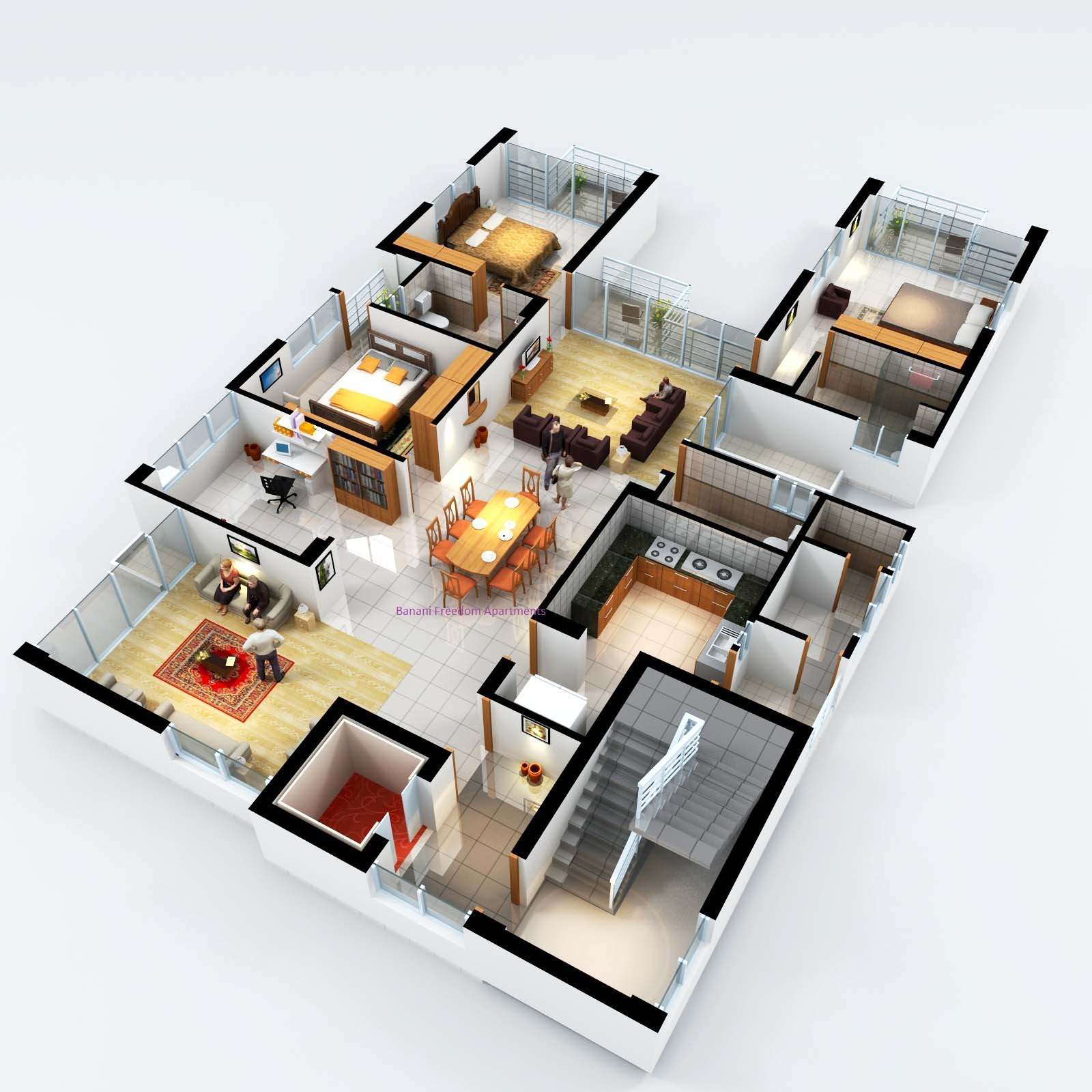 Banani freedom luxury apartments Home plan 3d